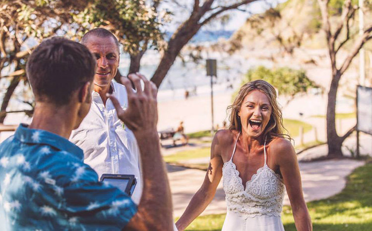 Byron Bay Elopement fun wedding Celebrant - Benjamin Carlyle