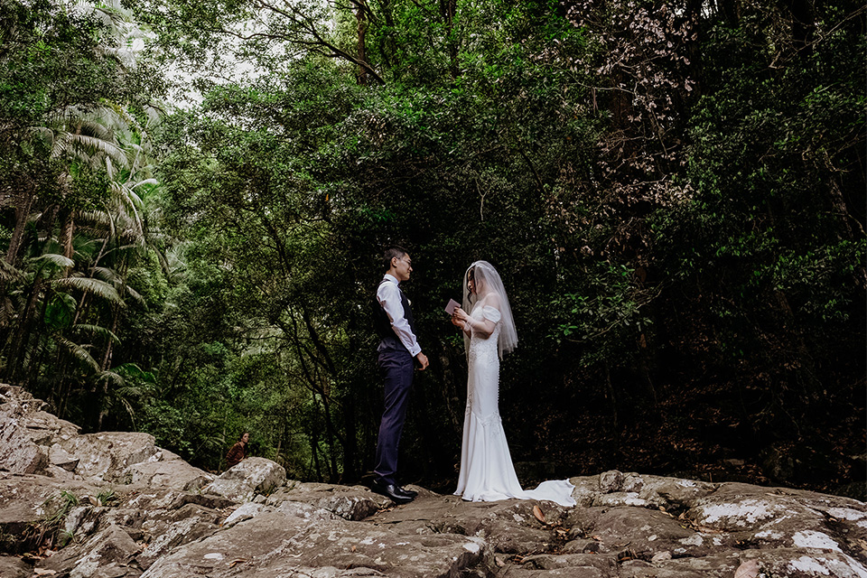 Gold Coast Elopements - Hitched In Paradise - Rain Forest Wedding Vow