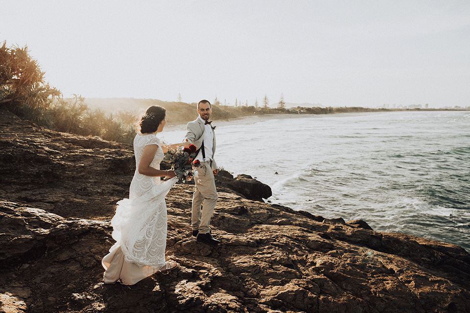Steph & Mitch - Hitched In Paradise Elopement - Fingal Headland Walk