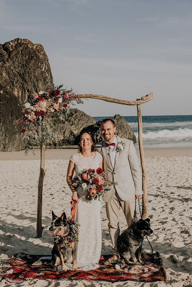 Tweed Coast Dogs Friendly Wedding - Hitched In Paradise - Fingal Beach