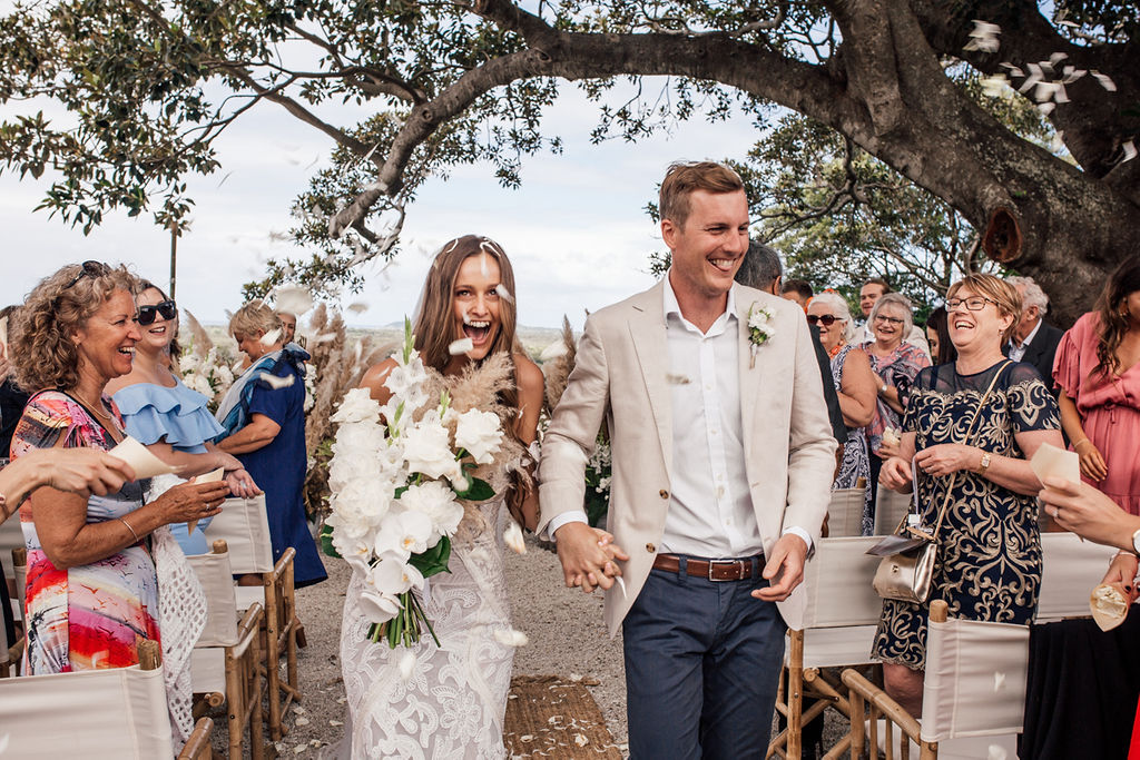 Tarsh & Steve - Wedding Confetti Shot - Figtree Restaurant